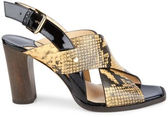 Jimmy Choo Aix Snakeskin-Embossed Leather Slingback Sandals