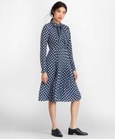 Brooks Brothers Floral-Print Silk Chiffon Shirt Dress