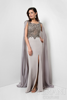Terani Evening - Imperial Embellished Bateau Neck Chiffon Gown with Cape 1713M3470
