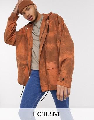 Reclaimed Vintage oversized cotton parker jacket in heavy orange wash