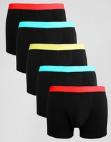 Asos Trunks With Bright Waistbands 5 Pack