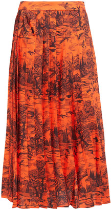 Victoria Victoria Beckham Pleated Printed Satin-twill Midi Skirt