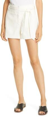 Veronica Beard Borneo Belted Linen Blend Shorts