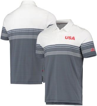 adidas Men's White/Navy USA Golf Ultimate 365 Bold Stripe Polo