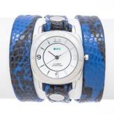 La Mer Electric Blue Snake Silver Odyssey Triple Wrap.