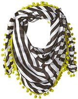 D&Y Women's Black and White Geo Pattern Sqaure Scarf With Poms