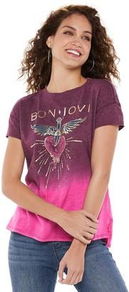 Rock & Republic Women's Bon Jovi Heart Logo Graphic Tee