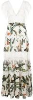 PatBO tropical lace trim maxi dress
