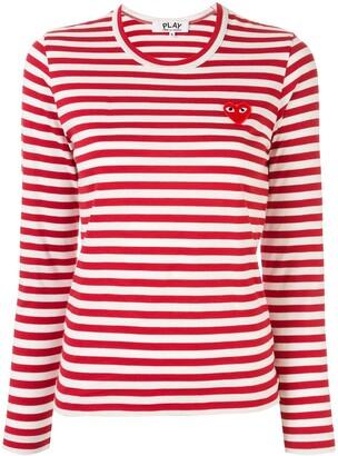 Comme des Garcons striped logo-patch T-shirt