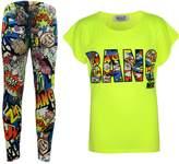 a2z4kids Kids Girls BANG Printed Trendy Top & Stylish Fashion Legging Set Age 7-13 Years