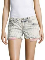 Miss Me Patterned Frayed Shorts