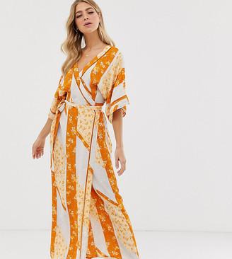 Miss Selfridge wrap kimono maxi dress in mixed print-Multi