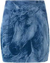 Balmain horse denim skirt
