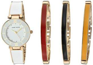 Anne Klein Women's Glitter Accented Gold-Tone and White Watch with Bangle Set