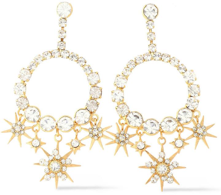 Elizabeth Cole Bracken 24-karat Gold-plated Crystal Earrings