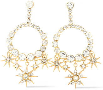 Elizabeth Cole Bracken 24-karat Gold-plated Crystal Earrings