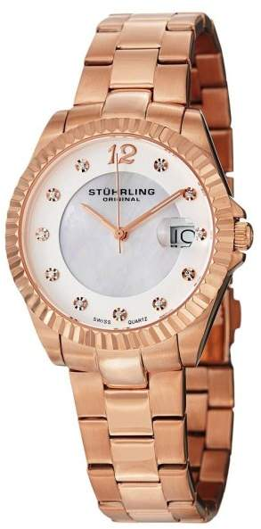Stuhrling Original Clipper 498.11447 Rose-Tone Stainless Steel & MOP 35mm Watch