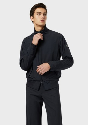Emporio Armani Bomber Jacket With Logo On The Inside Of The Collar