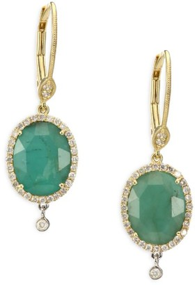 Meira T Emerald, Diamond, 14K Yellow Gold, 14K White Gold & Silver Oval Charm Drop Earrings
