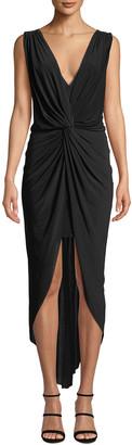 MISA Leza Gathered Crossover Sleeveless Tulip Maxi Dress