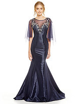 Terani Couture Flutter Sleeve Beaded Illusion Bodice Mermaid Gown