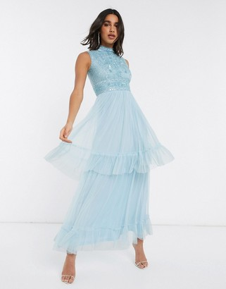 Frock and Frill tiered tulle maxi dress in blue