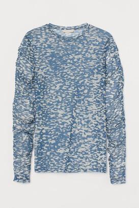 H&M Patterned Mesh Top - Blue