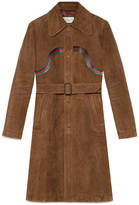 Gucci Suede coat with leather Web