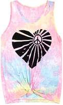 Flowers by Zoe Girls' Distressed Knot-Front Heart Tank