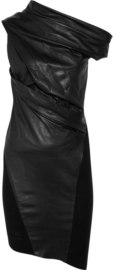 Helmut Lang Baby asymmetric leather and wool dress