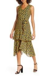 Sam Edelman Bold Poppy Tiered Asymmetrical Midi Dress