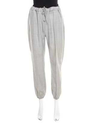Max Mara Grey Crosshatch Wool Elasticized Waist Jogger Pants M