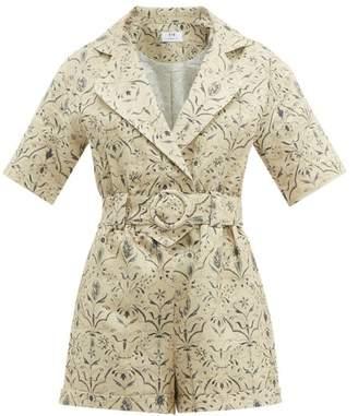 Sir - Sachi-print Linen-canvas Playsuit - Womens - Cream Multi