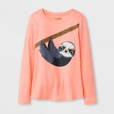 Cat & Jack Girls' Long Sleeve Sloth Graphic T-Shirt - Cat & Jack Coral