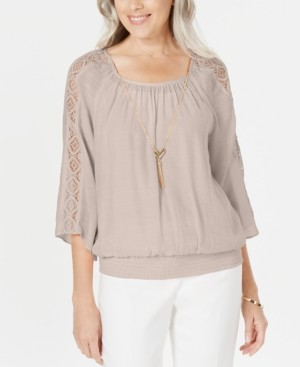 JM Collection Petite Textured Crochet Necklace Top, Created for Macy's