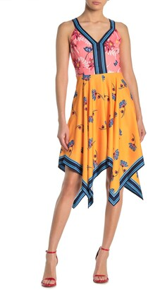 GUESS Floral Colorblock Handkerchief Hem Dress