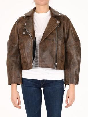 Ganni Washed Short Leather Jacket