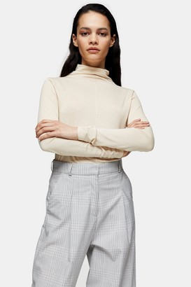 Topshop Cream Pintuck Turtle Neck T-Shirt