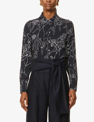 Victoria Victoria Beckham Self-tie belt wide-leg high-rise wool trousers