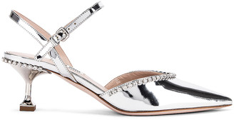 Miu Miu Ankle Jewel Pumps in Silver | FWRD