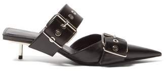 Balenciaga Belt Buckle Leather Mules - Womens - Black