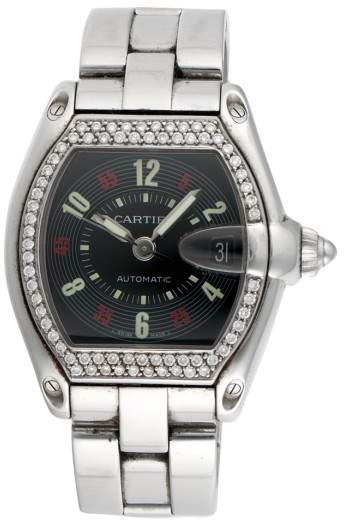 Cartier Roadster 2510 Stainless Steel with Custom Diamond Bezel Automatic 37mm Mens Watch