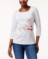 Karen Scott Petite Cotton Holiday Flamingo Graphic Top, Created for Macy's