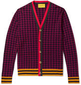 Gucci Webbing-Trimmed Houndstooth Wool Cardigan
