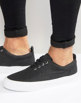 Asos Lace Up Sneakers In Gray Felt