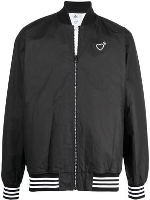 adidas Heart-Detail Zip-Up Bomber Jacket