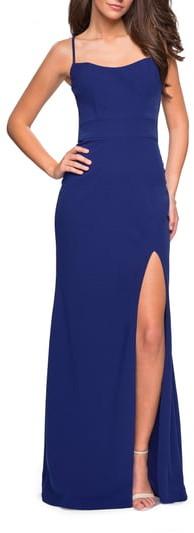 La Femme Strappy Back Jersey Column Dress