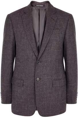 Emporio Armani Burgundy Wool-blend Blazer