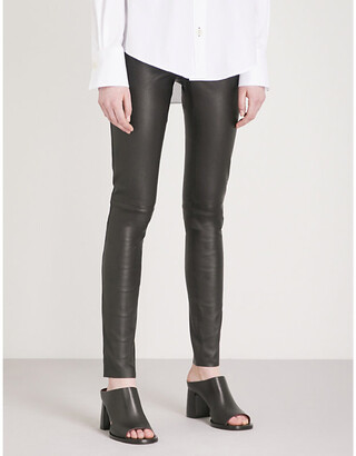 Joseph Panelled stretch-leather trousers