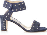 Jimmy Choo VETO 65 Denim Leather Sandals with Silver Studs